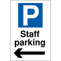 Weather-resistant Reserved Parking Signs for Staff with Arrow Left