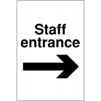 Weather-resistant 'Staff Entrance' Sign with Right Arrow Image