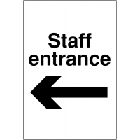 Weather-resistant 'Staff Entrance' Sign with Left Arrow Image
