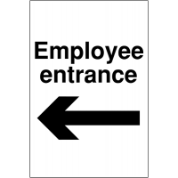 Weather-resistant 'Employee Entrance' Sign with Left Arrow Image