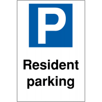 Resident Parking' Reserved Car Park Sign in Various Materials