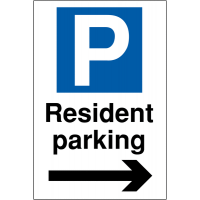 Weather Resistant Resident Parking Signs (Arrow Right)