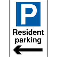 Weather-resistant 'Resident Parking' Sign with Left Arrow Image and Parking Symbol
