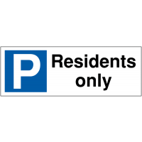 Weather-resistant parking bay signs - residents only