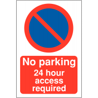 No Parking 24 Hour Access Required' with No Waiting Symbol Restricted Access Parking Signs