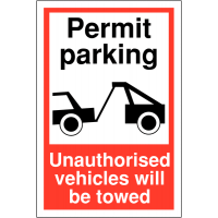 Hard-Wearing Permit Parking Sign With Towing Warning