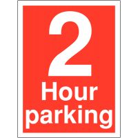 Weather-resistant '2 Hour Parking' Time Limit Sign