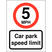 Speed Awareness Signs for Car Parks (5mph)