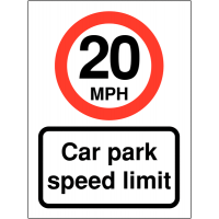 Weatherproof 20 MPH Speed Control Signs To Promote Car Park Speed Awareness