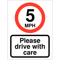Plastic Car Park Sign – Displaying '5MPH Please Drive With Care' Message