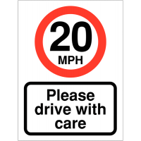 Drive With Care Speed Awareness Signs (20mph)