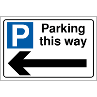 Car Parking This Way Sign With Left Arrow