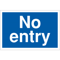 No entry blue and white car park navigation signs