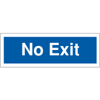 No exit blue and white car park navigation signs