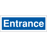 Blue and white navigational car park entrance signage