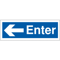 Car park entry signs with left-pointing arrow