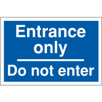 Car park way-finding signs stating entrance only, do not enter