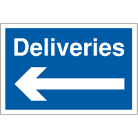 Blue and white car park signage stating 'deliveries' with left arrow