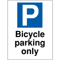 Bicycle parking only' outdoor car park sign