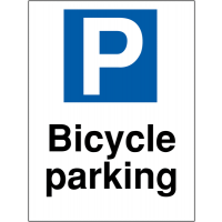 Bicycle parking' car park sign for wall or post mounting