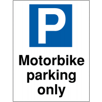 Motorbike parking only' car park sign in choice of materials
