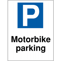 Motorbike parking sign in reflective and non-reflective options