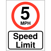 '5 MPH speed limit' double-sided projecting car park signs
