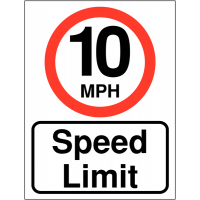 Double-sided 10mph speed limit sign