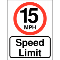 Double-sided easily visible 15 MPH speed limit signs