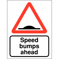 Double-sided projecting car park signs for speed bumps ahead