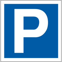Double-sided parking symbol projecting car park signs
