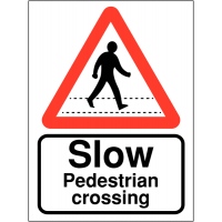 "Highly visible projecting car park signs displaying ""slow pedestrian crossing"""
