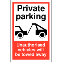 Hard-Wearing Private Parking Sign With Towing Warning