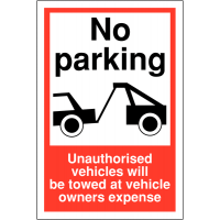 Weather-Resistant 'Vehicles Towed at Owner's Expense' Sign