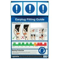 Earplug Fitting Guide Poster with 3D Projecting Header Sign
