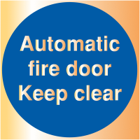 Deluxe Automatic Fire Door Metal Look Self Adhesive Safety Signs