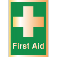 Brushed Metal-Look Acrylic First Aid Sign