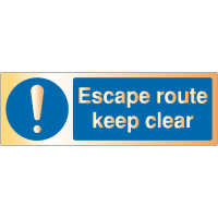 Escape Route - Keep Clear' Metal-look Safety Signs