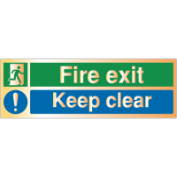 Deluxe Fire Exit - Keep Clear Warning Signs