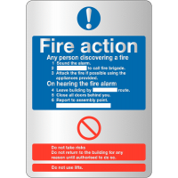 Stylish Metal-Look Acrylic Fire Action Sign