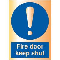 Deluxe Acrylic Metal Finish Fire Door Warning Signs