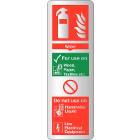 Durable 'Metal Look' Water Fire Extinguisher Instruction Signs