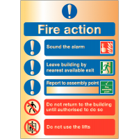 Deluxe Fire Action Instruction Safety Signs