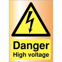 Danger High Voltage Acrylic Sign with Adhesive Backing