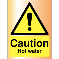 Durable, sophisticated safety signs – Caution Hot Water