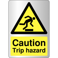 Deluxe 'Caution: Trip hazard' safety signs with brushed metal finish