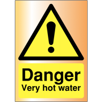 Very Hot Water Acrylic Metal Finish Safety Signs