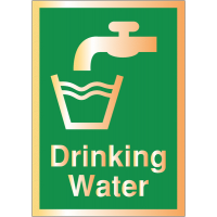 Deluxe Acrylic Metal Finish Drinking Water Safety Signs