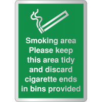 Eye-Catching Deluxe Metal-Effect Signs - 'Smoking Area Please Keep Tidy'