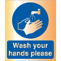 Acrylic 'Wash Your Hands Please' Sign With Metallic Finish